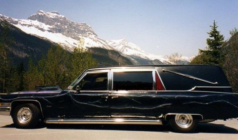 1973 Cadillac Hearse by Superior Coach with Sidepipes for sale