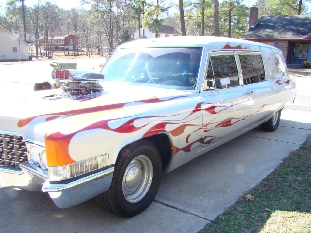 1969 Cadillac Silver Hotrod Hearse All Custom For Sale