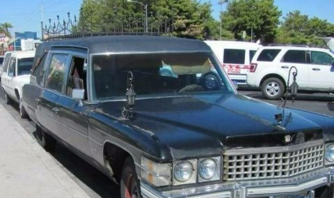 customized 1974 Cadillac Brougham Superior hearse for sale