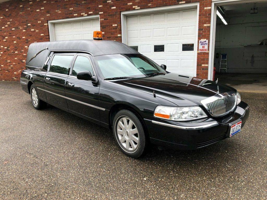 garaged 2003 Lincoln Town Car hearse