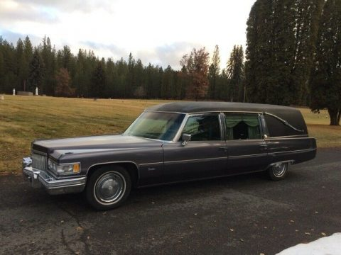 vintage classic 1975 Cadillac Fleetwood Miller Meteor Hearse for sale